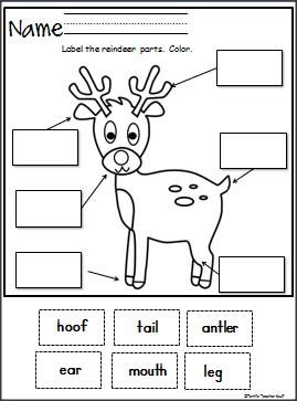 Here is a fun free Label The Reindeer cut and paste activity. Fun for winter and Christmas.