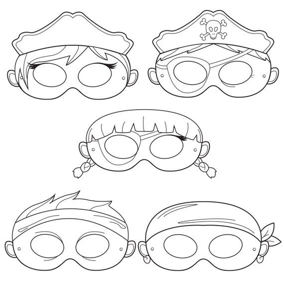 Pirates Printable Coloring Masks, pirate mask, captain