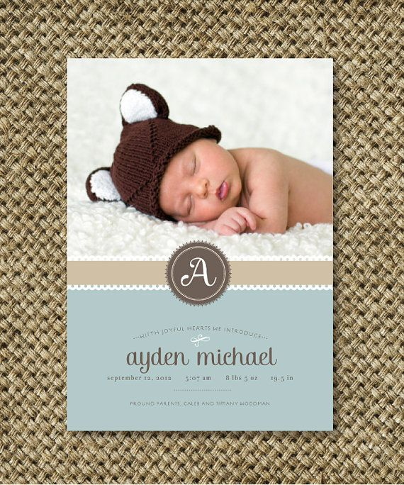 Baby Boy Birth Announcement Photo Card. 5x7. You by RoxterDesigns, $18.00