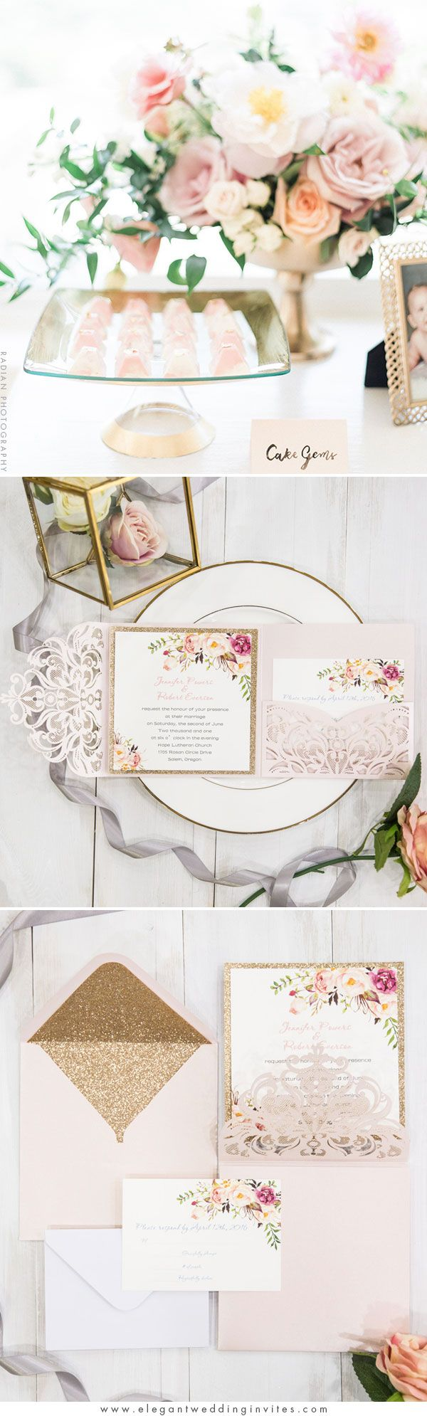 Romantic Blush Pink Floral Glitter Laser Cut Pocket Wedding Invitation EWWS201 #weddinginvitations #pinkwedding #goldwedding