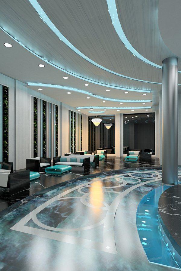 Amazing Ceiling Design Ideas Blue Hotel Lobby Interior