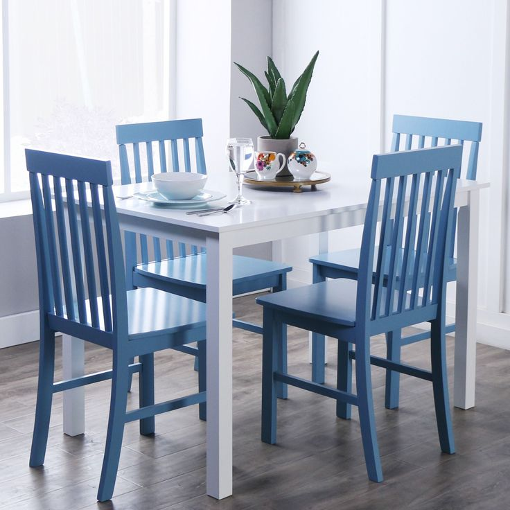 Walker Edison White Powder Blue 5 Piece Dining Set Greyson