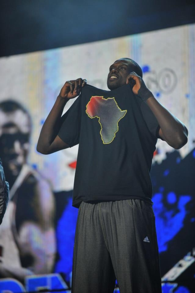 Luol Deng's Africa t-shirt. We love this, because it goes perfectly with his dress sweats.