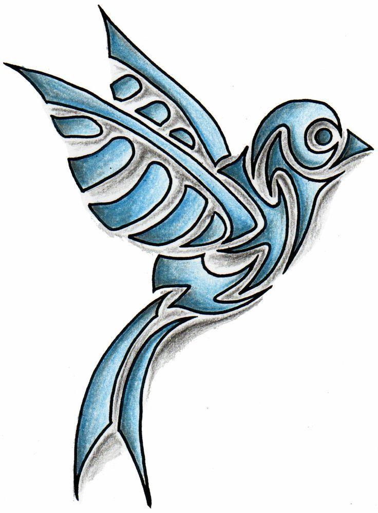 Tribal Bird Tattoo Designs Coloured tribal bird tattoo