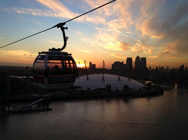 Emirates Airlifts View to O2 Arena in North Greenwich area - London