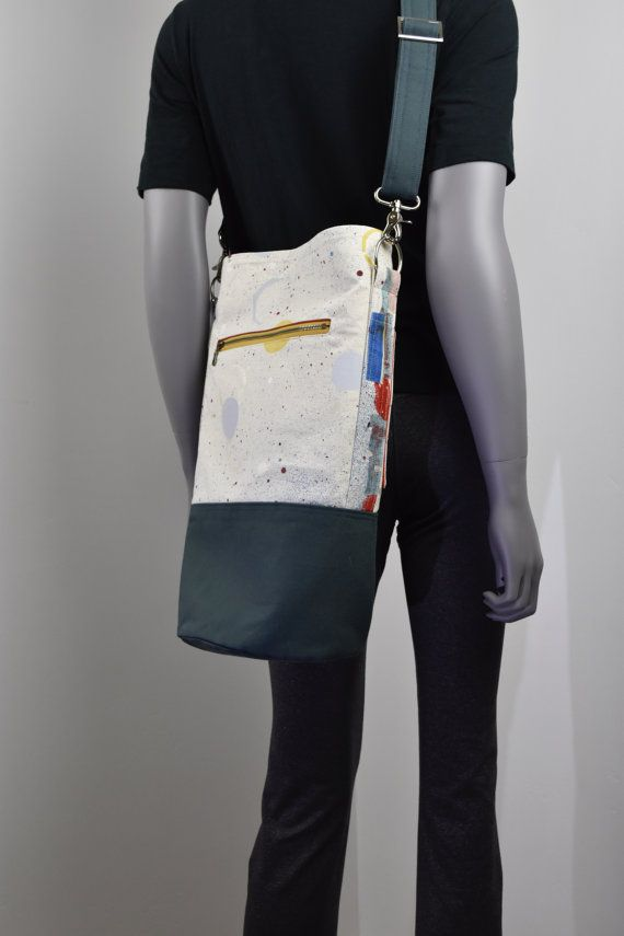 Modern canvas bag. Bucket style shoulder bag. Cool splatter paint pattern. Adjustable for cross-body wear. 100% Guaranteed . Great gift!