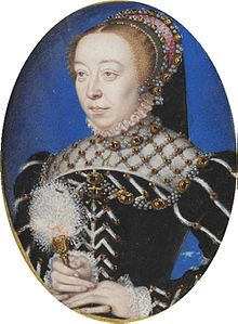 """Miniature of Catherine de' Medici, """"a rare portrait of Catherine before she was widowed in 1559, when she adopted the veil and severely plain dress of a widow."""""""