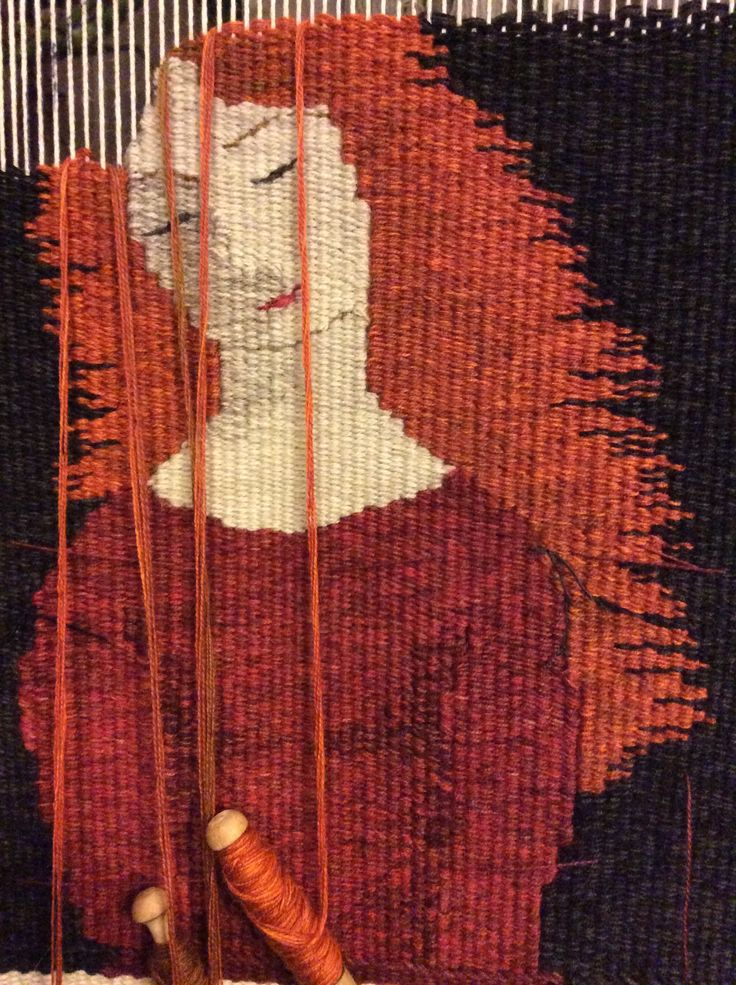 Tapestry of girl in progress http://chrissiefreeth.wix.com/weaver