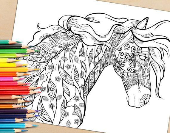 adult coloring book page decorative horse by selahworksart on etsy