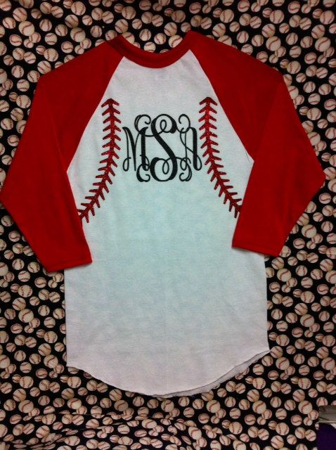 Monogrammed Baseball Jersey T shirt  Personalized With Glitter Vinyl. on Etsy, $25.00
