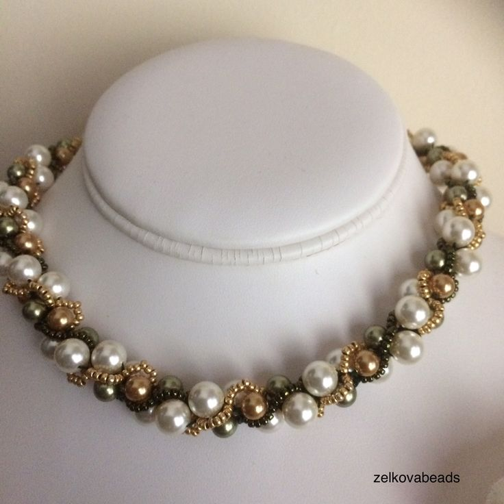 Zelkova Beads Komorebi Swarovski CreamRose Lt Gold/ Green $60