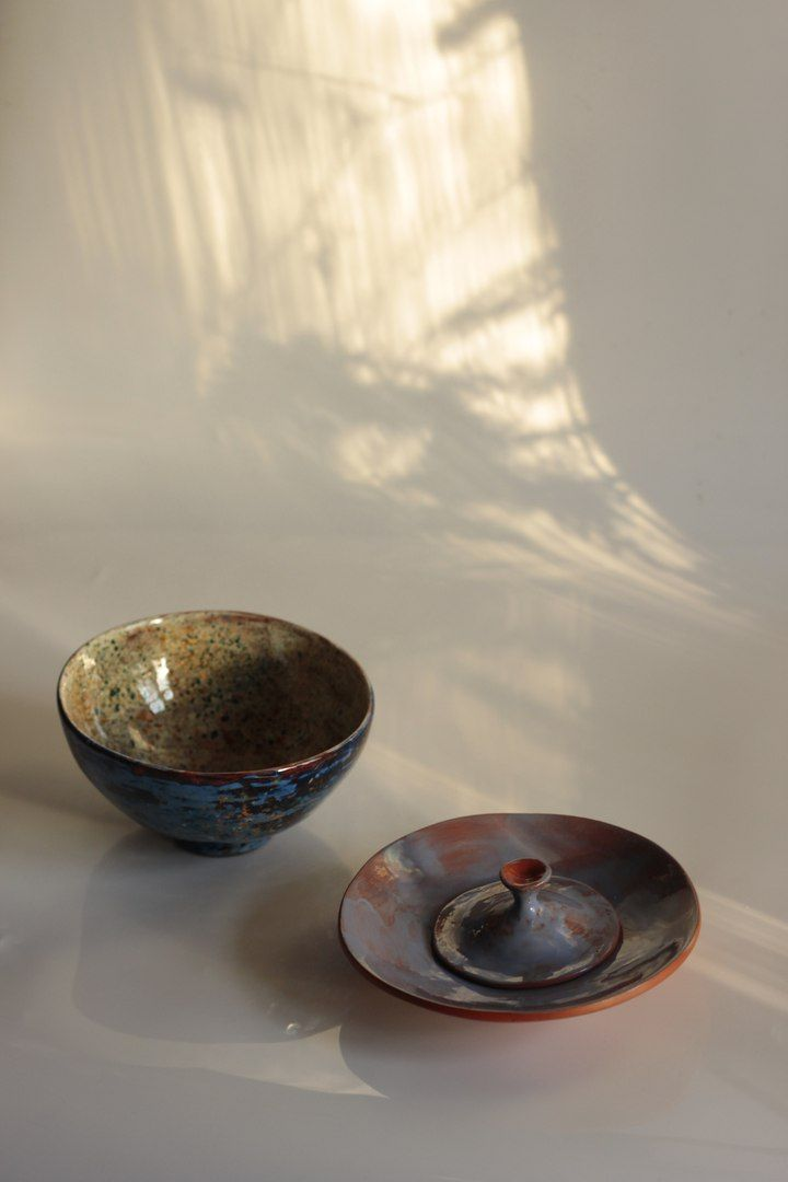 "Bowl, plate and stand ""Stardust"""