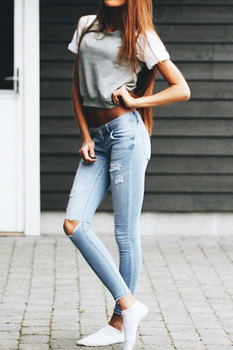 Light jeans and grey top - 33 Best Ripped JeanS Images On Pinterest Ripped Jeans Outfit
