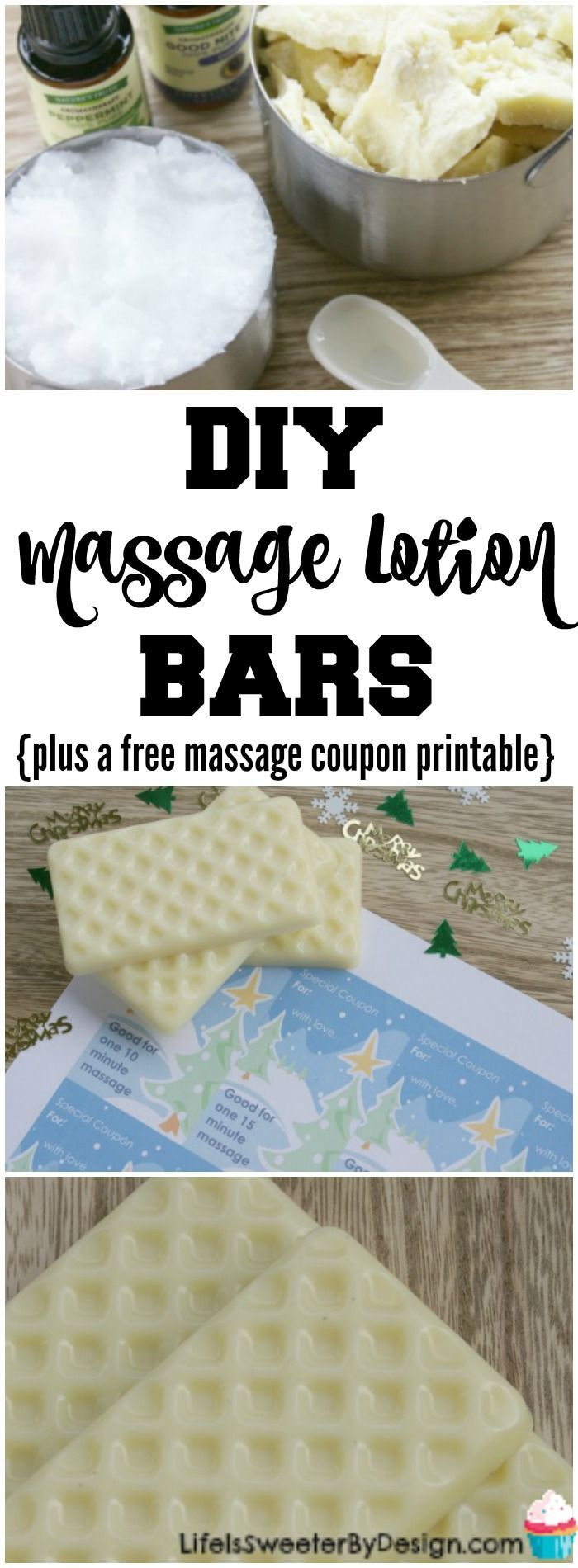 DIY Homemade Massage Lotion Bars are easy to make and great for Christmas gifts! Be sure to print off free massage coupons to give with your DIY massage bars!