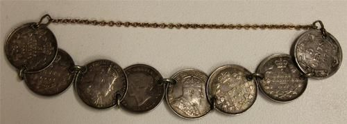 Unique Vintage 5 Cent Silver Bracelet With Eight Scarce Better Grade Canada Five Cent Silver Coins. Normal Coin Catalog Value is over $450.00+