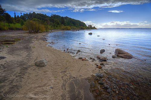 Cae la tarde en Puntilla Nilque - Lago Puyehue (Patagonia - Chile)