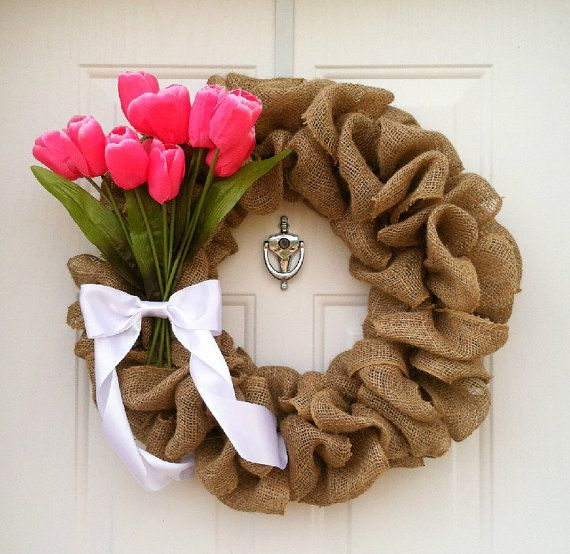 Burlap Wreath with Tulip Bouquet - Valentines Wreath - Easter Wreath - Spring Wreath - only $50.00!