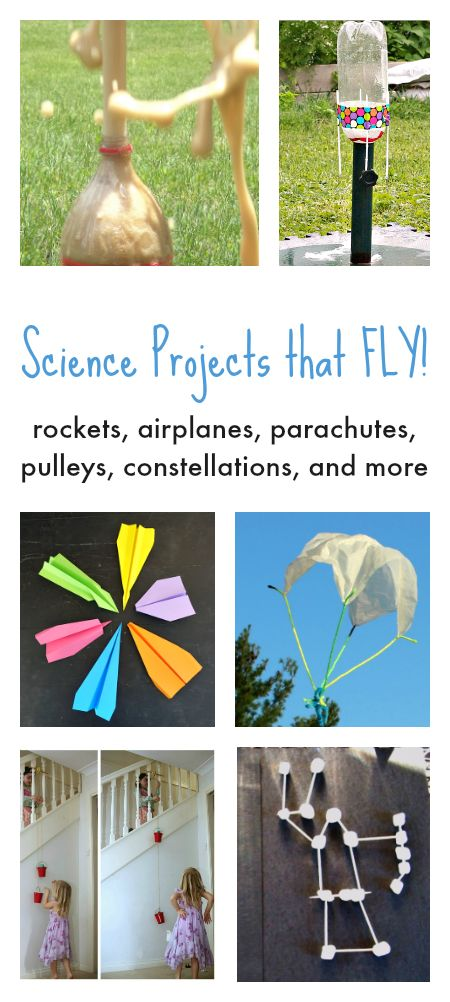 Science projects that fly, how to make a rocket, parachutes, pulley experiment, coke and mentos experiment, fun science experiments for kids