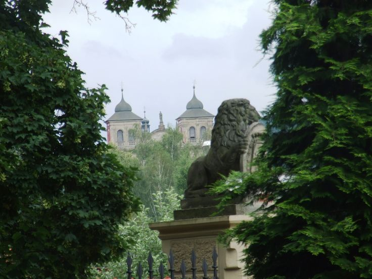 Chyše- Church of annunciation of virgin Mary- view from the castle garden