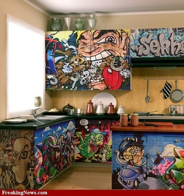Graffiti Art Kitchen Design... 15 years ago suggested a graffiti kitchen with concrete..and was told was crazy...  graffitti art making its way...