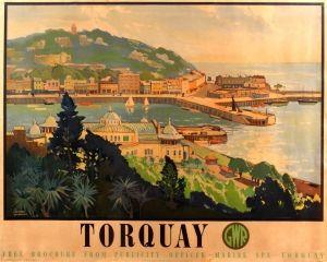 Torquay Great Western Railway GWR 1930s - original vintage travel advertising poster by Leonard Richmond listed on AntikBar.co.uk