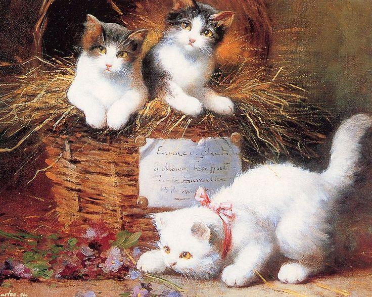 Скачать обои животные, пушистые котята, Leon Charles Huber 1280x1024