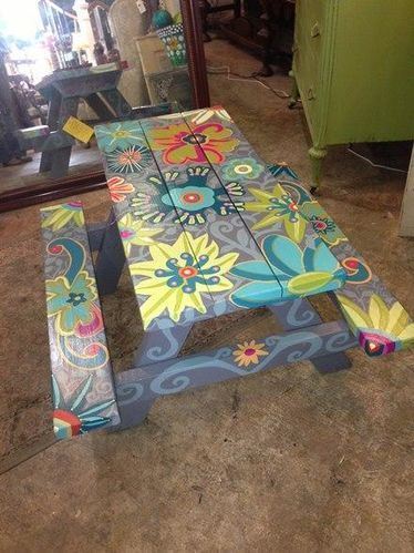 Painted picnic table.