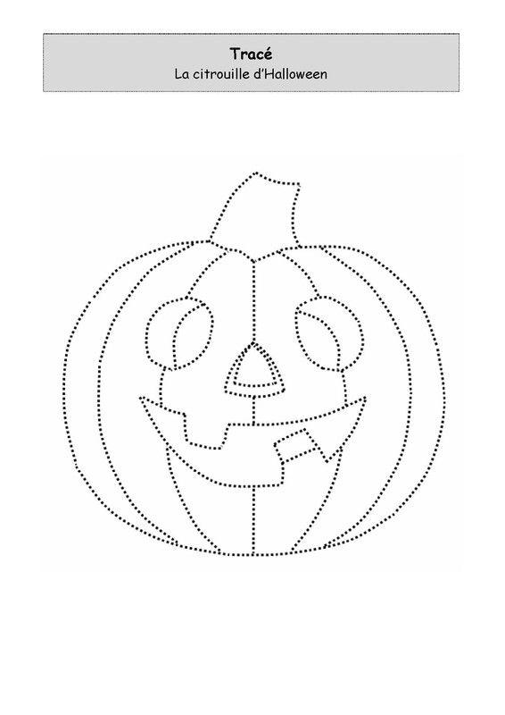 Pour les enfants, imprimer et tracer une citrouille Halloween