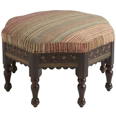 """•Hand-upholstered •30.5"""" Dia x 17.5""""H •Made in India •Cotton, mango wood, engineered wood, brass •Multicolor •Spot clean only •Assembly Required"""