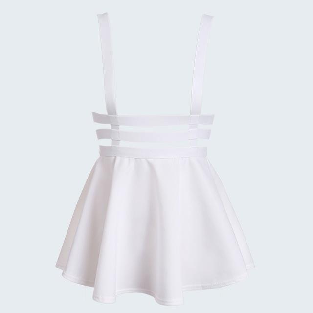 Spring Women's skirt Preppy Style Suspender saia Ruffles Skater Pleated skirt Short women Ball Gown Mini Braces vintage