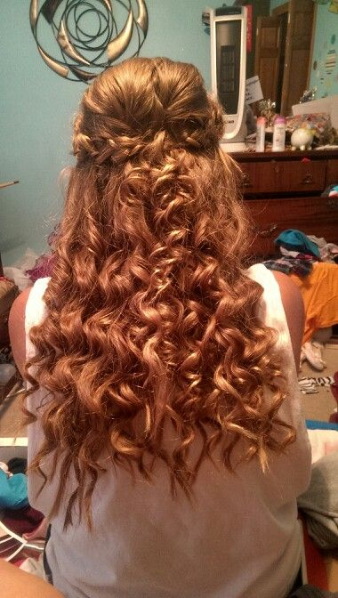 Homecoming hair half up half down with a braid