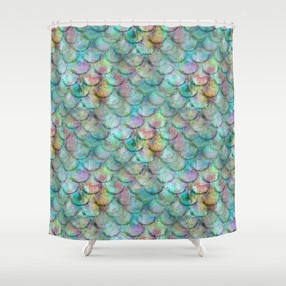 Mermaid Shower Curtain Beach Bathroom Decor By HLBhomedesigns