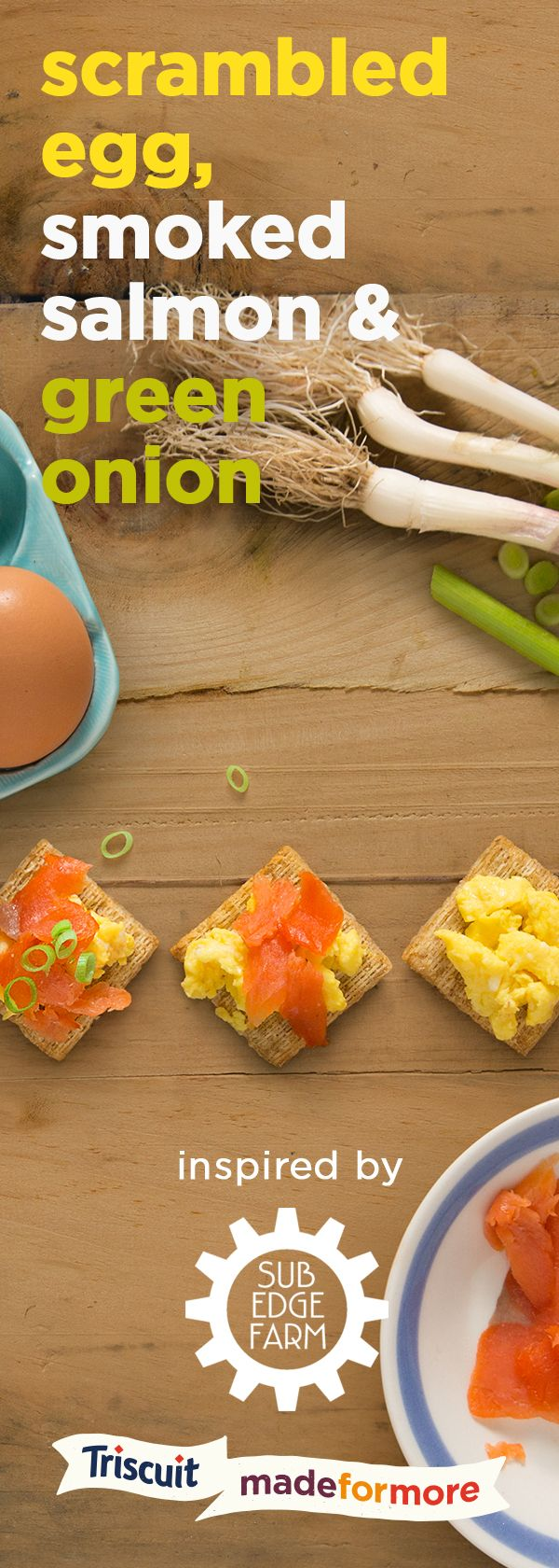 For more snack inspiration from the amazing team at Sub Edge Farm, try layering scrambled egg, smoked salmon and green onion on a TRISCUIT cracker. It's the perfect way to enjoy a little taste of breakfast any time of the day!