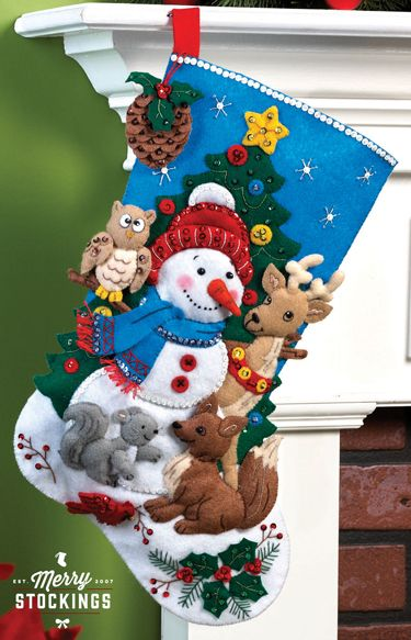 Woodland Snowman Bucilla Christmas stocking kit. New release, available to order in early May at MerryStockings.