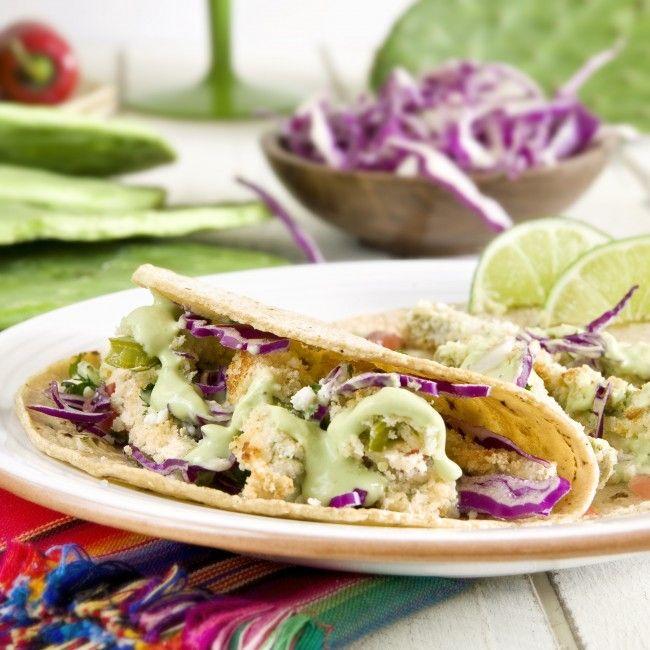 Fried Cactus Tacos with Avocado Cream Sauce for Cinco de Mayo #vegan #vegetarian