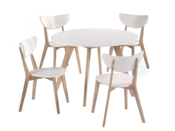 FAGERSTRÖM Bord 110 Vit + 4 Stolar Natur/Vit i gruppen Inomhus / Bord / Matgrupper hos Furniturebox (100-22-62537)
