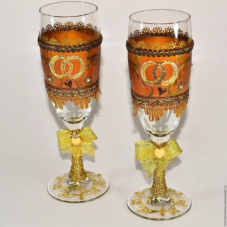 Купить Свадебные бокалы в подарочной упаковке - золотой, свадьба, свадебные бокалы, свадебный аксессуар