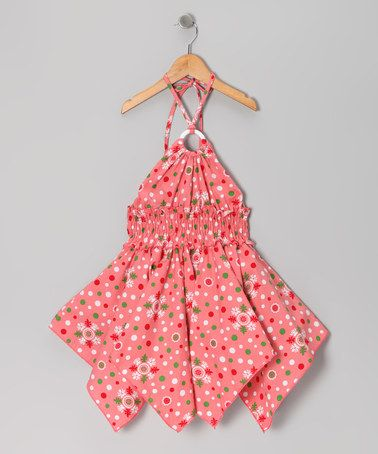 Take a look at this Coral Floral Polka Dot Handkerchief Dress - Toddler & Girls by Lele for Kids on #zulily today!