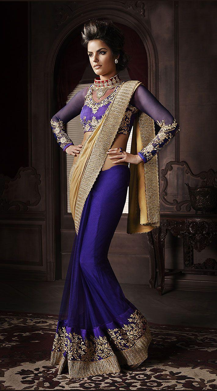poly georgette zardosi embroidered beaded saree -