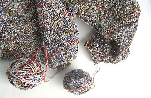 Vitali tears recycled newsprint into strips and expertly twists into balls of yarn without adding glue, coloring or silicone, reports ecouterre. He then uses custom-made needles and hooks – some as long as 8 feet – to crochet the newspaper yarn into stylish and functional fashion pieces, the site reported.