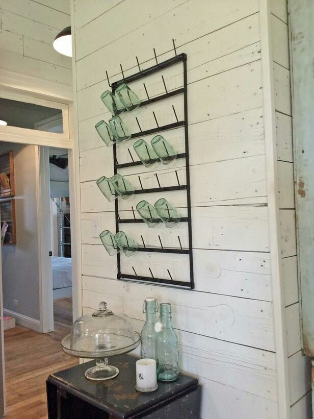 metal post jar/cup rack from fixer upper