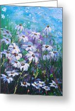 Wild Daisy Field Greeting Card by Laura Wilson