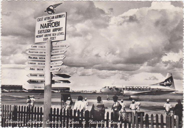 Ethiopia Airlines,Corsair Airliner,Nairobi Eastleigh Airport,Kenya,Africa,1960s