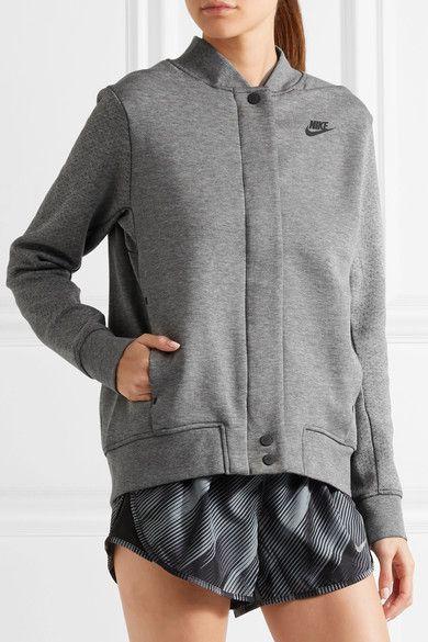 Nike - Tech Fleece Destroyer Perforated Cotton-blend Jersey Jacket - Gray -