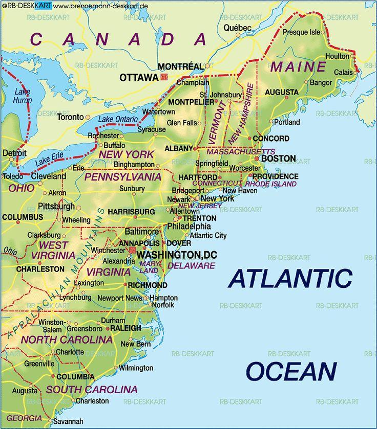 Us Map North East Coast