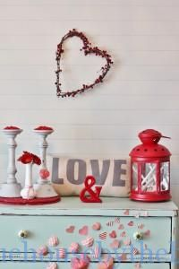 """Mixing up your decor can be as simple as adding a pop of color or taking what you already have and grouping it together to incorporate a theme or make a sweet little vignette. That is what I did with these beautiful Turned Walnut Candle Stands. They were my inspiration for this Valentine's Day dresser. I wanted something simple, fun and that I could put together on a minimal budget.  I think I can say """"mission accomplished""""."""