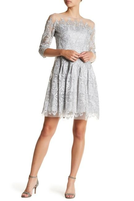 Image of Kay Unger Metallic Embroidered Dress