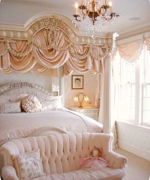 Girls princess bedroom...love the ornate piece over the bed