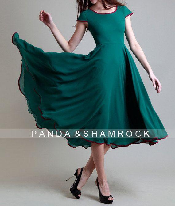 irish spring/women dress/ chiffon dress/ long/ S-XL/custom made/ many color choices/wedding/bridesmaid
