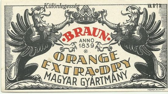Vintage orange extra dry label distillery hungary 1940s